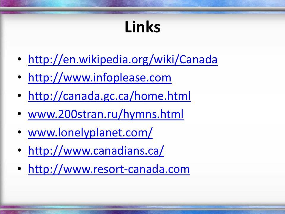 Links http://en.wikipedia.org/wiki/Canada http://www.infoplease.com http://canada.gc.ca/home.html www.200stran.ru/hymns.html www.lonelyplanet.com/ htt