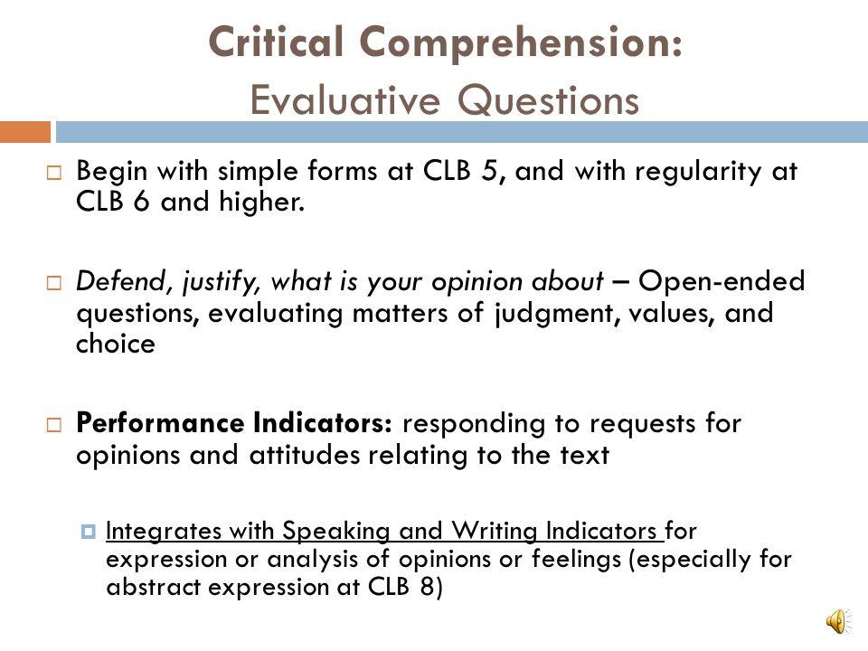 Critical Comprehension: Evaluative Questions