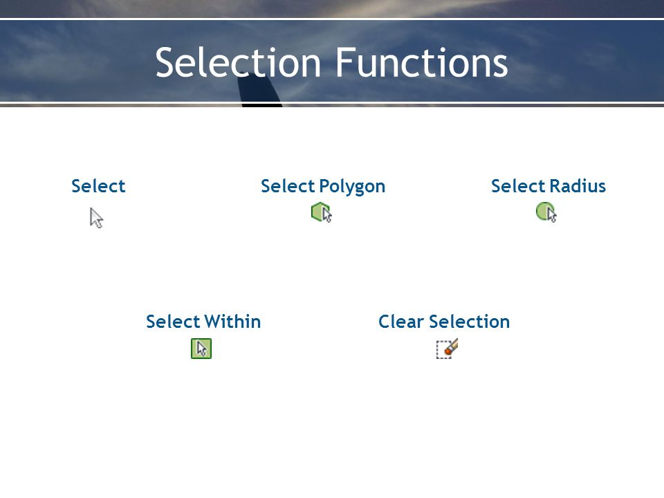 Selection Functions SelectSelect PolygonSelect Radius Select WithinClear Selection