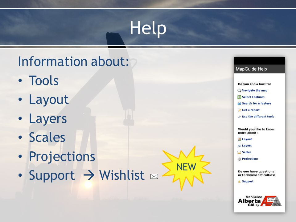 Help Information about: Tools Layout Layers Scales Projections Support  Wishlist NEW