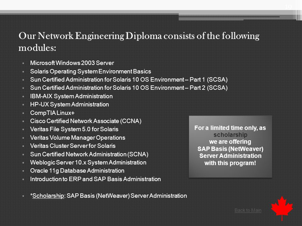Our Network Engineering Diploma consists of the following modules: Microsoft Windows 2003 Server Solaris Operating System Environment Basics Sun Certified Administration for Solaris 10 OS Environment – Part 1 (SCSA) Sun Certified Administration for Solaris 10 OS Environment – Part 2 (SCSA) IBM-AIX System Administration HP-UX System Administration CompTIA Linux+ Cisco Certified Network Associate (CCNA) Veritas File System 5.0 for Solaris Veritas Volume Manager Operations Veritas Cluster Server for Solaris Sun Certified Network Administration (SCNA) Weblogic Server 10.x System Administration Oracle 11g Database Administration Introduction to ERP and SAP Basis Administration *Scholarship: SAP Basis (NetWeaver) Server Administration 19 For a limited time only, as scholarship we are offering SAP Basis (NetWeaver) Server Administration with this program.