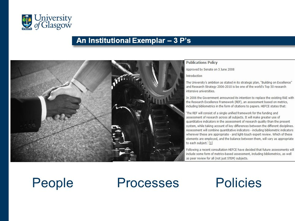 An Institutional Exemplar – 3 P's PeoplePoliciesProcesses