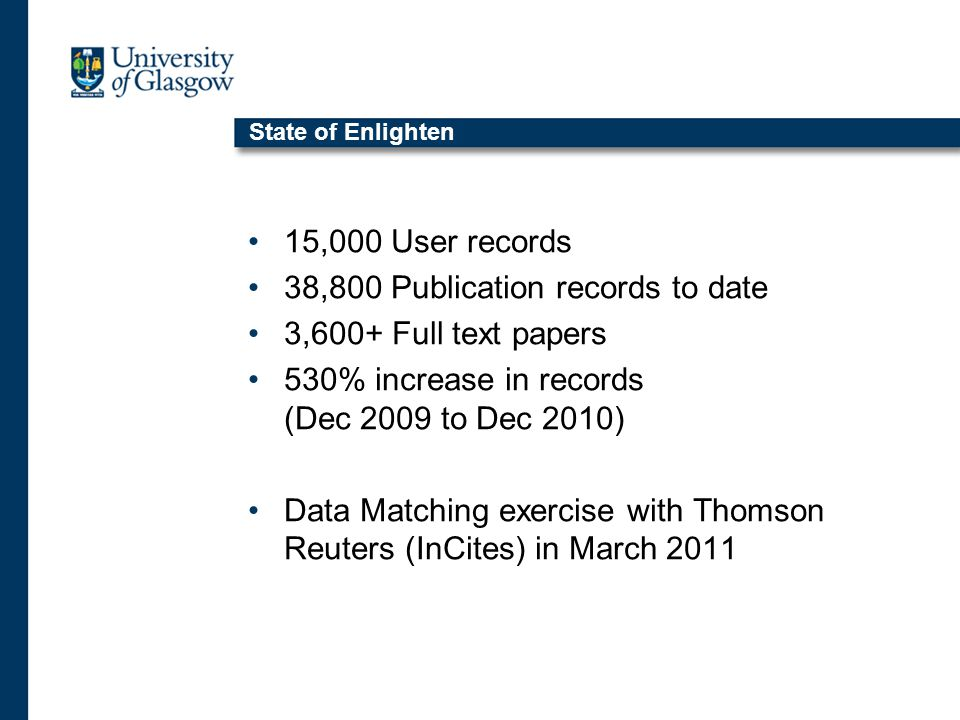 State of Enlighten 15,000 User records 38,800 Publication records to date 3,600+ Full text papers 530% increase in records (Dec 2009 to Dec 2010) Data Matching exercise with Thomson Reuters (InCites) in March 2011