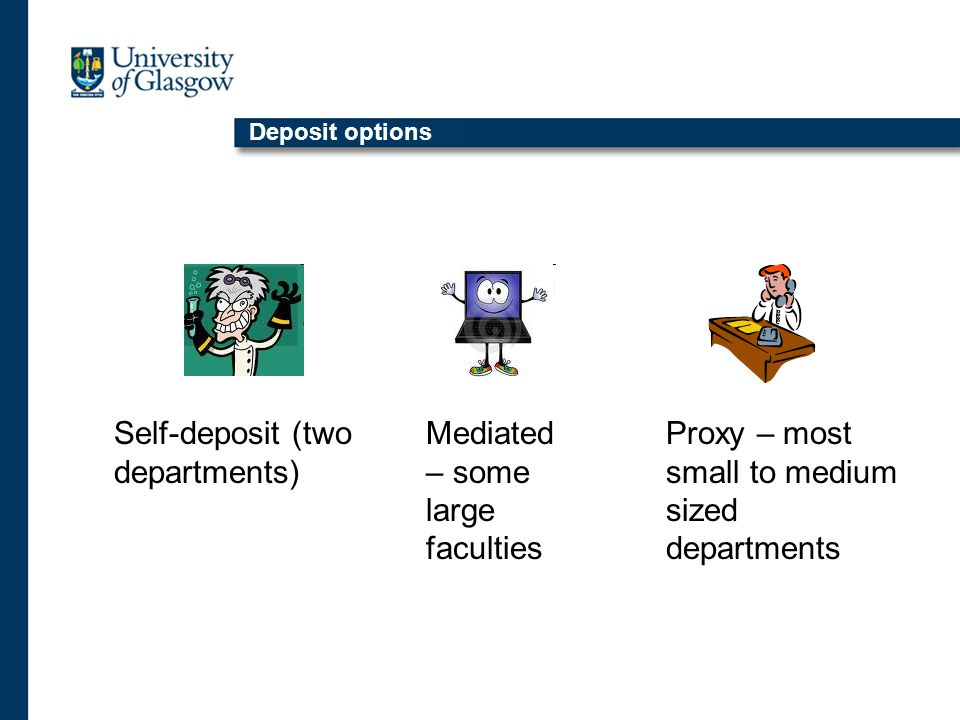 Deposit options Self-deposit (two departments) Mediated – some large faculties Proxy – most small to medium sized departments
