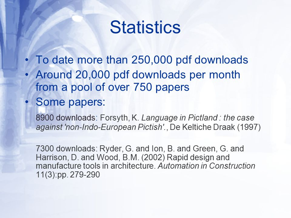 Statistics To date more than 250,000 pdf downloads Around 20,000 pdf downloads per month from a pool of over 750 papers Some papers: 8900 downloads: Forsyth, K.