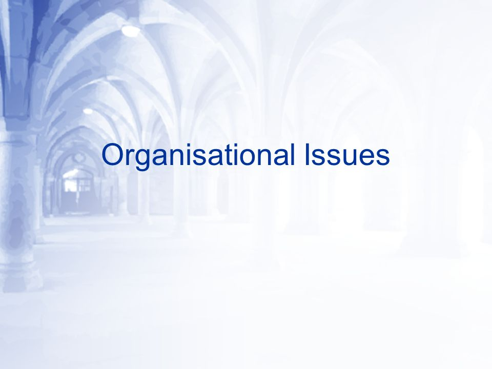 Organisational Issues