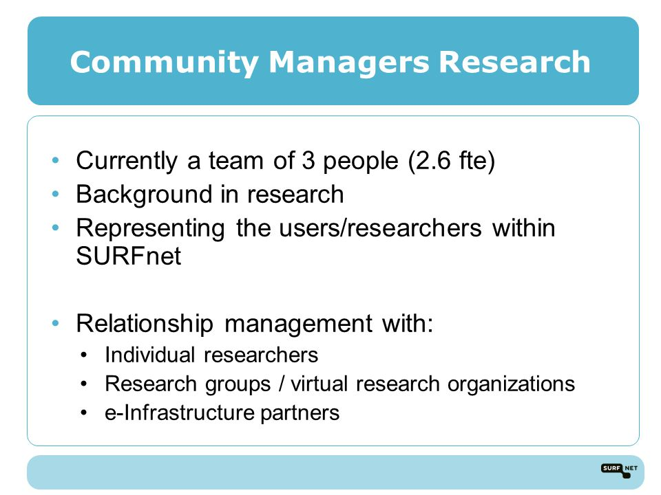 Community Managers Research Currently a team of 3 people (2.6 fte) Background in research Representing the users/researchers within SURFnet Relationship management with: Individual researchers Research groups / virtual research organizations e-Infrastructure partners