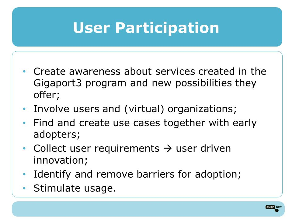 User Participation Create awareness about services created in the Gigaport3 program and new possibilities they offer; Involve users and (virtual) organizations; Find and create use cases together with early adopters; Collect user requirements  user driven innovation; Identify and remove barriers for adoption; Stimulate usage.