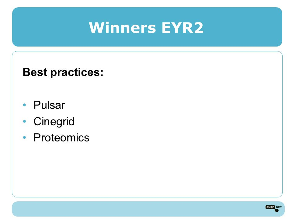 Winners EYR2 Best practices: Pulsar Cinegrid Proteomics