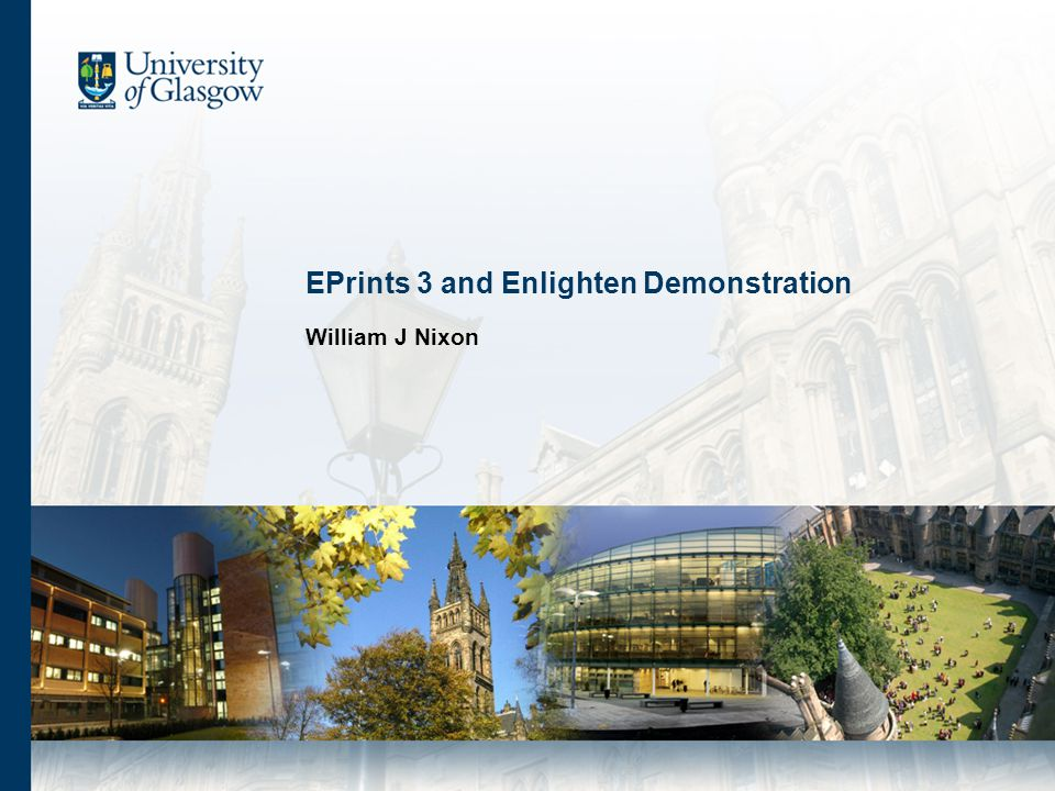 EPrints [and Enlighten] About EPrints Demonstration and Key Features 1.Searching and Browsing 2.Depositing and Managing Papers 3.Administering the System Different Roles 1.User 2.Editor 3.Administrator Further Information
