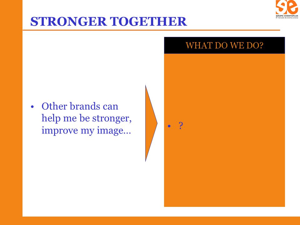 STRONGER TOGETHER Other brands can help me be stronger, improve my image… WHAT DO WE DO