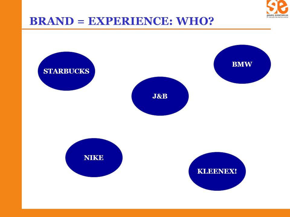 BRAND = EXPERIENCE: WHO? STARBUCKS J&B NIKE KLEENEX! BMW