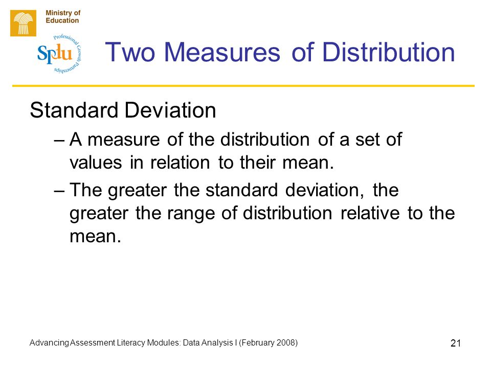 Advancing Assessment Literacy Modules: Data Analysis I (February 2008) 21 Two Measures of Distribution Standard Deviation –A measure of the distribution of a set of values in relation to their mean.
