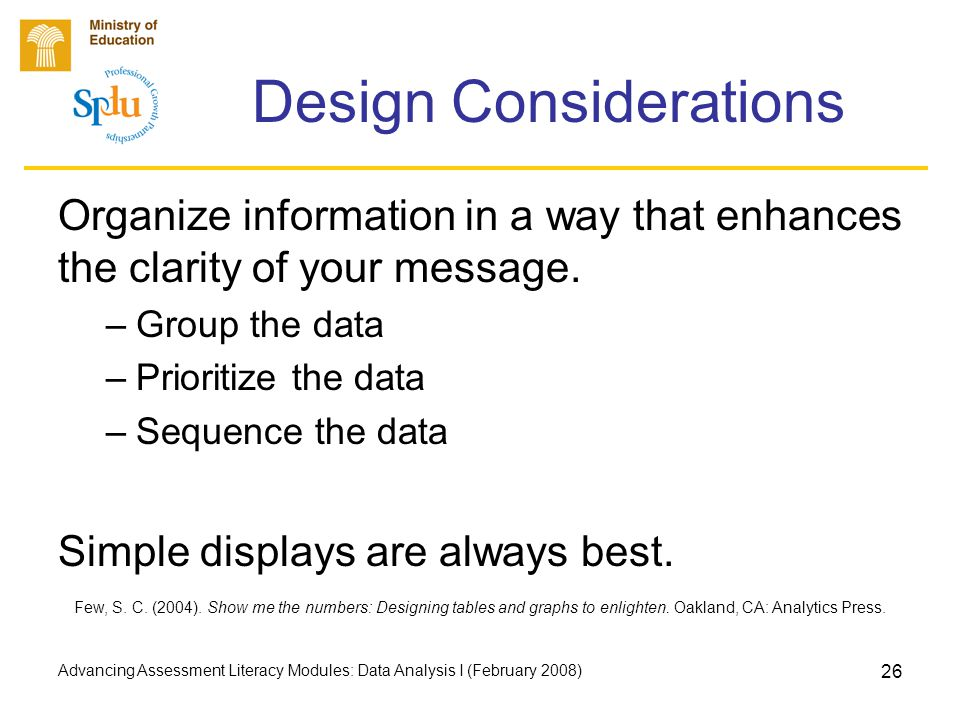 Advancing Assessment Literacy Modules: Data Analysis I (February 2008) 26 Design Considerations Organize information in a way that enhances the clarit