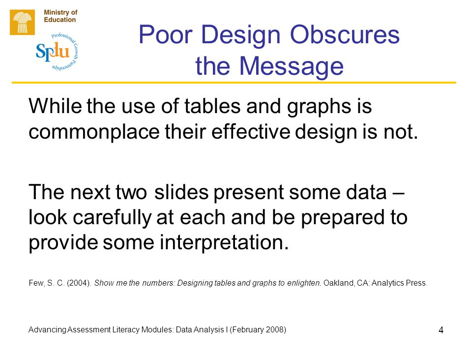 Advancing Assessment Literacy Modules: Data Analysis I (February 2008) 4 Poor Design Obscures the Message While the use of tables and graphs is commonplace their effective design is not.
