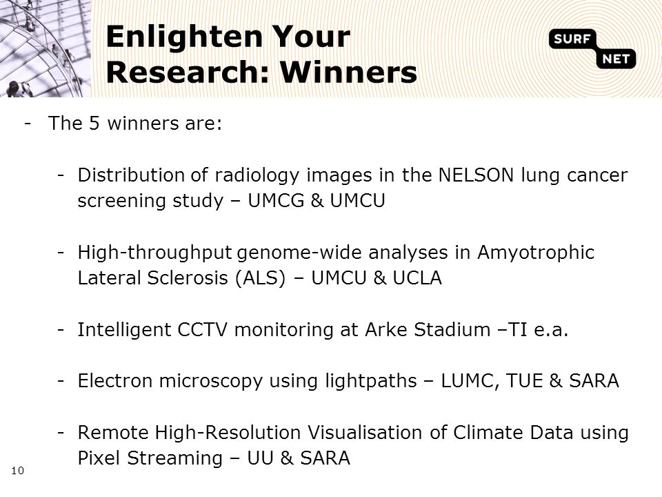 10 Enlighten Your Research: Winners -The 5 winners are: -Distribution of radiology images in the NELSON lung cancer screening study – UMCG & UMCU -High-throughput genome-wide analyses in Amyotrophic Lateral Sclerosis (ALS) – UMCU & UCLA -Intelligent CCTV monitoring at Arke Stadium –TI e.a.