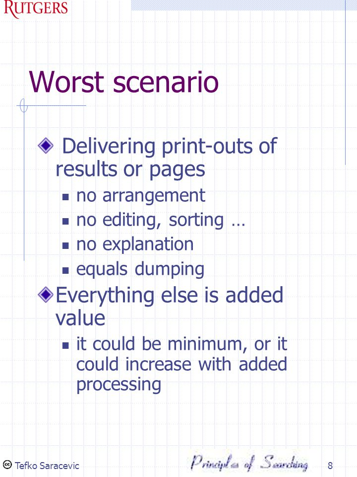 Tefko Saracevic8 Worst scenario Delivering print-outs of results or pages no arrangement no editing, sorting … no explanation equals dumping Everything else is added value it could be minimum, or it could increase with added processing
