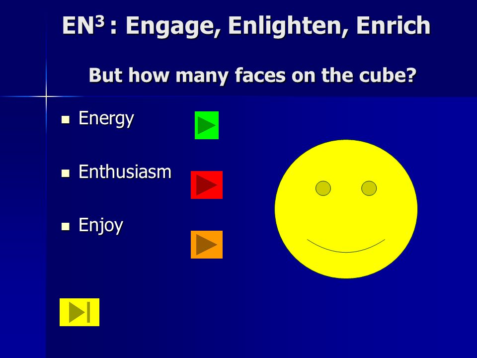 EN 3 : Engage, Enlighten, Enrich But how many faces on the cube.