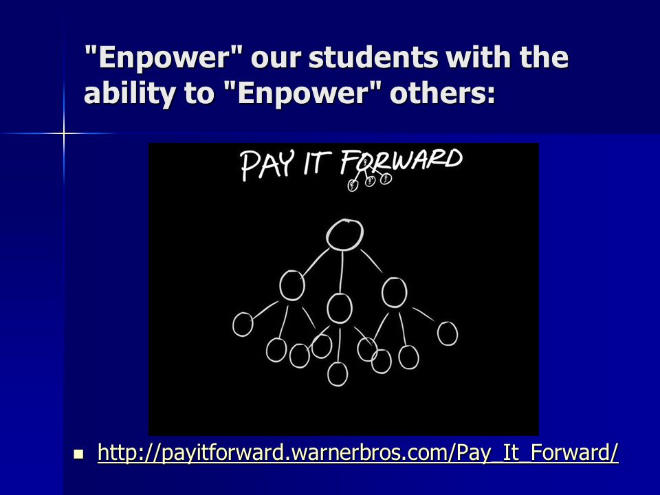 Enpower our students with the ability to Enpower others: http://payitforward.warnerbros.com/Pay_It_Forward/ http://payitforward.warnerbros.com/Pay_It_Forward/ http://payitforward.warnerbros.com/Pay_It_Forward/