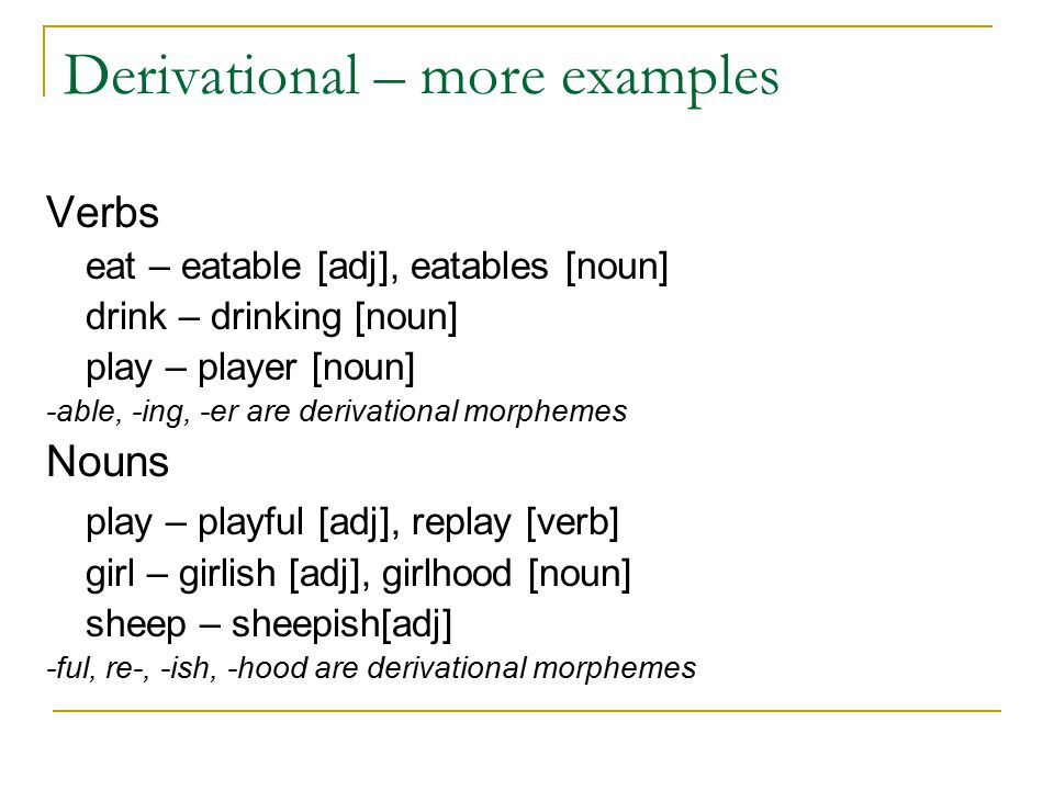 Derivational – more examples Verbs eat – eatable [adj], eatables [noun] drink – drinking [noun] play – player [noun] -able, -ing, -er are derivational morphemes Nouns play – playful [adj], replay [verb] girl – girlish [adj], girlhood [noun] sheep – sheepish[adj] -ful, re-, -ish, -hood are derivational morphemes