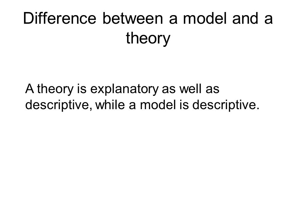 Difference between a model and a theory A theory is explanatory as well as descriptive, while a model is descriptive.