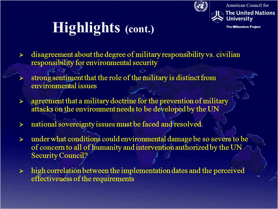 Highlights (cont.)   disagreement about the degree of military responsibility vs.