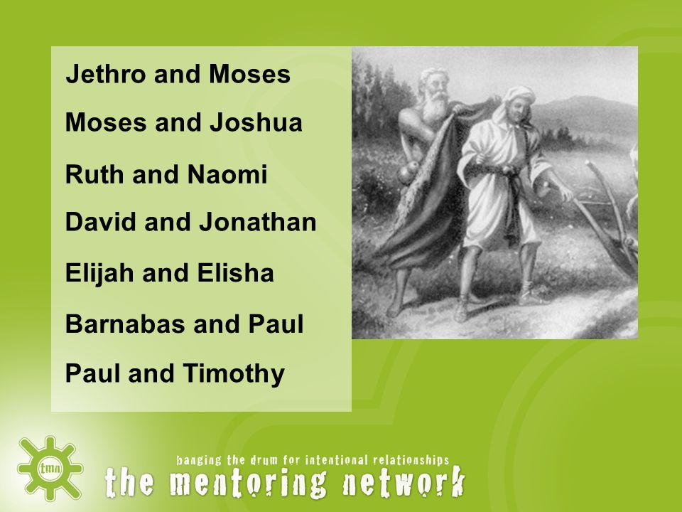 Jethro and Moses Moses and Joshua Elijah and Elisha Barnabas and Paul David and Jonathan Paul and Timothy Ruth and Naomi
