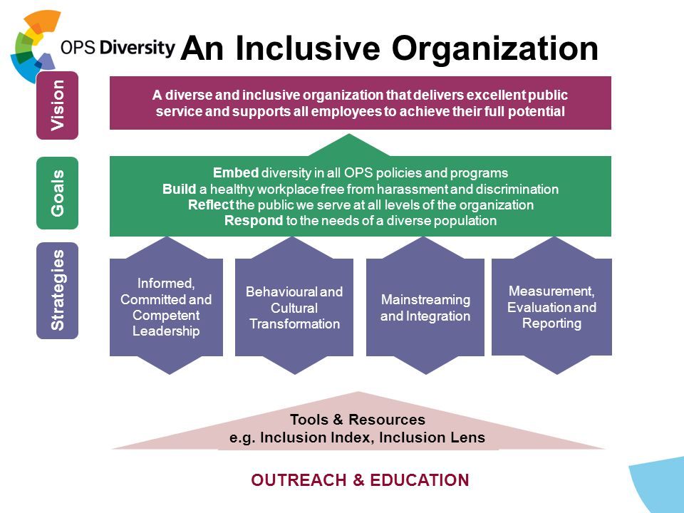 Measurement, Evaluation and Reporting A diverse and inclusive organization that delivers excellent public service and supports all employees to achieve their full potential Vision Embed diversity in all OPS policies and programs Build a healthy workplace free from harassment and discrimination Reflect the public we serve at all levels of the organization Respond to the needs of a diverse population Goals Strategies Mainstreaming and Integration Behavioural and Cultural Transformation Informed, Committed and Competent Leadership Tools & Resources e.g.