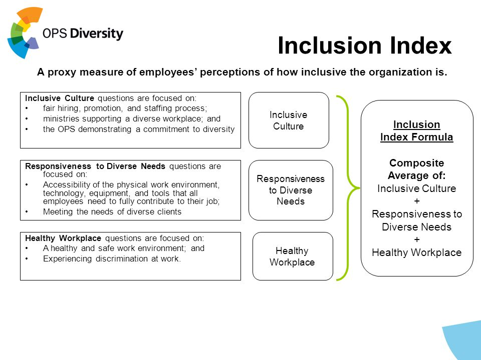 Inclusion Index Inclusive Culture questions are focused on: fair hiring, promotion, and staffing process; ministries supporting a diverse workplace; a