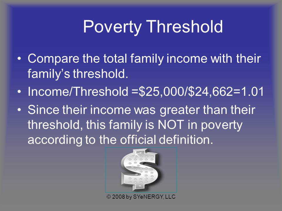 © 2008 by SYeNERGY, LLC Poverty Threshold How can a family of 5 survive on $25,000 with little assistance.