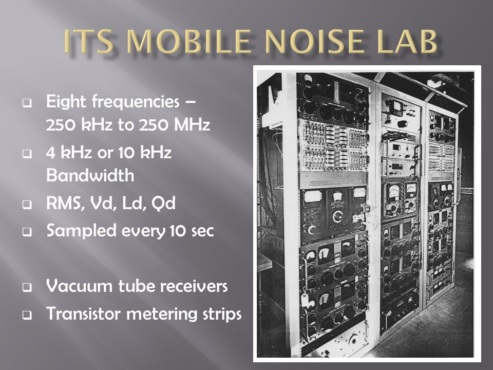  Eight frequencies – 250 kHz to 250 MHz  4 kHz or 10 kHz Bandwidth  RMS, Vd, Ld, Qd  Sampled every 10 sec  Vacuum tube receivers  Transistor met