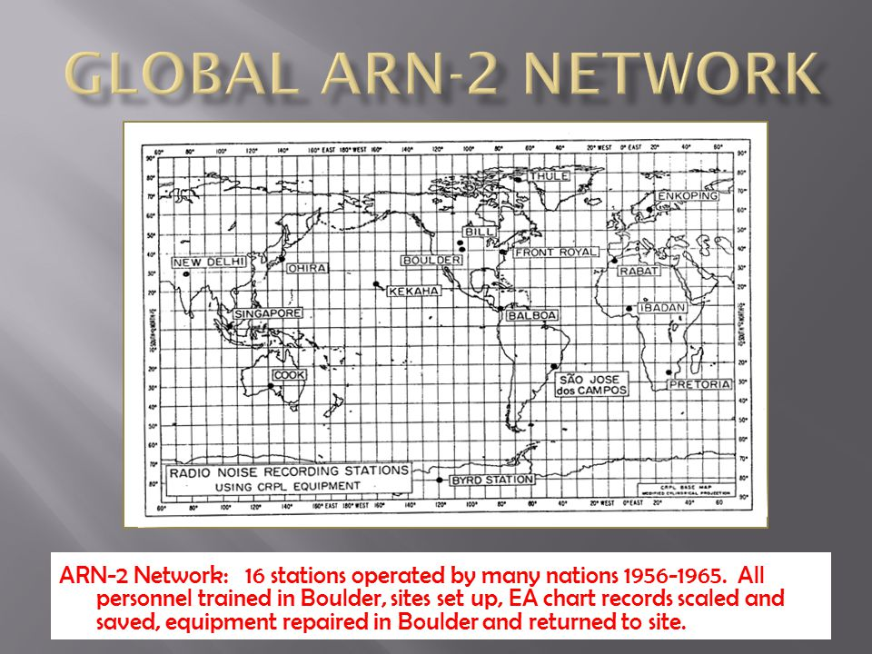 ARN-2 Network: 16 stations operated by many nations 1956-1965. All personnel trained in Boulder, sites set up, EA chart records scaled and saved, equi