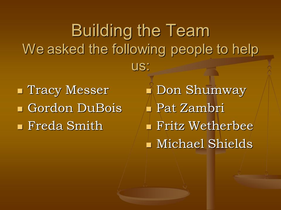 Building the Team We asked the following people to help us: Tracy Messer Tracy Messer Gordon DuBois Gordon DuBois Freda Smith Freda Smith Don Shumway Pat Zambri Fritz Wetherbee Michael Shields