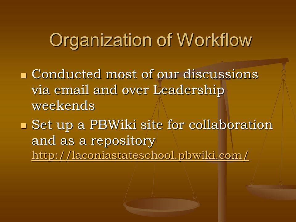Organization of Workflow Conducted most of our discussions via email and over Leadership weekends Conducted most of our discussions via email and over Leadership weekends Set up a PBWiki site for collaboration and as a repository http://laconiastateschool.pbwiki.com/ Set up a PBWiki site for collaboration and as a repository http://laconiastateschool.pbwiki.com/ http://laconiastateschool.pbwiki.com/