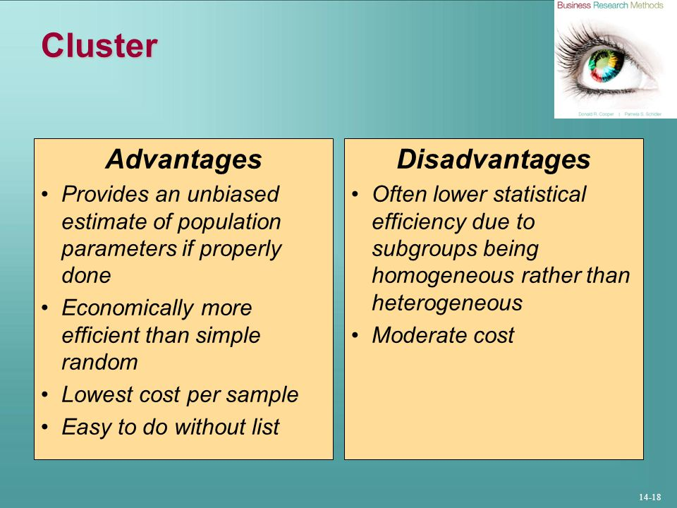 14-18 Cluster Advantages Provides an unbiased estimate of population parameters if properly done Economically more efficient than simple random Lowest cost per sample Easy to do without list Disadvantages Often lower statistical efficiency due to subgroups being homogeneous rather than heterogeneous Moderate cost