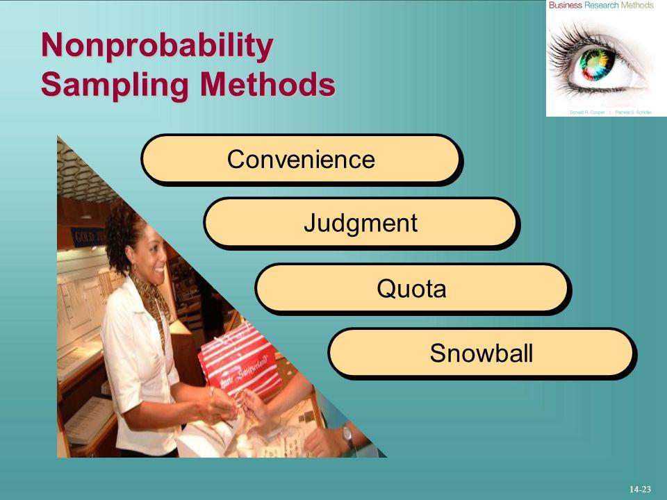 14-23 Nonprobability Sampling Methods Convenience Judgment Quota Snowball