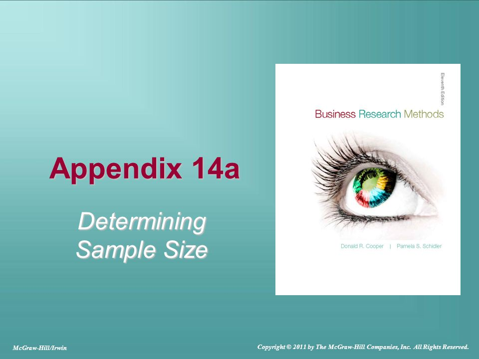 Appendix 14a Determining Sample Size McGraw-Hill/Irwin Copyright © 2011 by The McGraw-Hill Companies, Inc.
