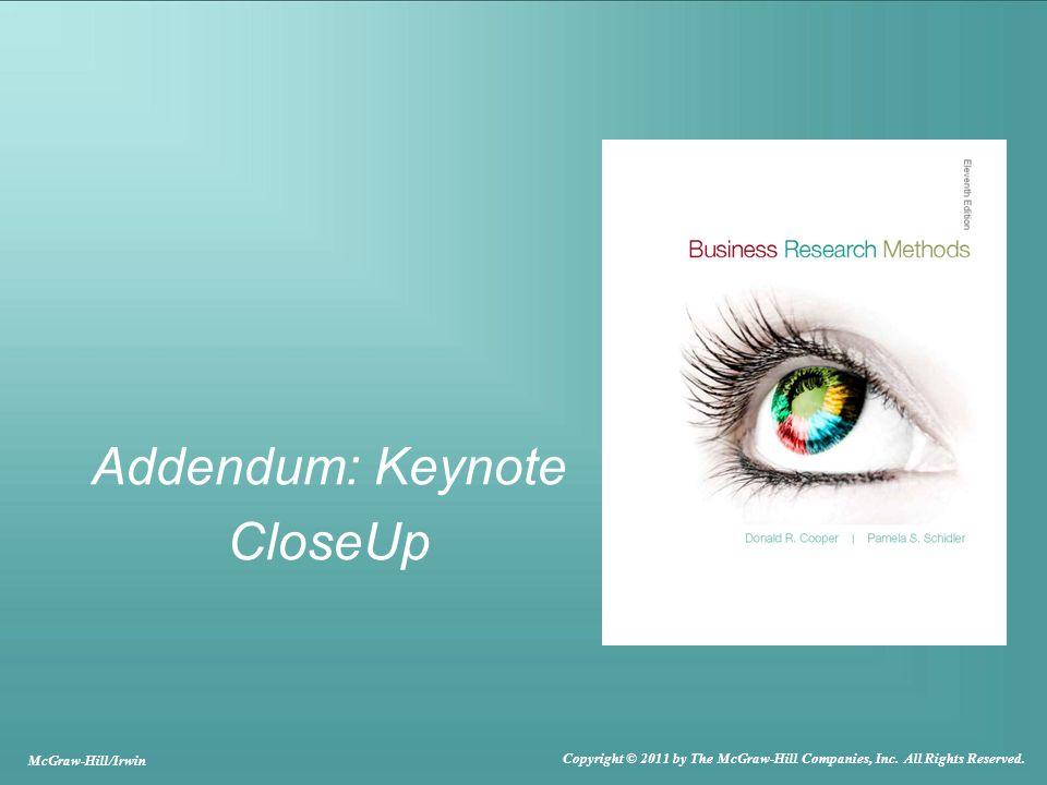 Addendum: Keynote CloseUp McGraw-Hill/Irwin Copyright © 2011 by The McGraw-Hill Companies, Inc.