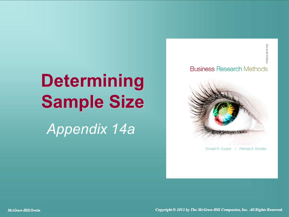 Determining Sample Size Appendix 14a McGraw-Hill/Irwin Copyright © 2011 by The McGraw-Hill Companies, Inc.
