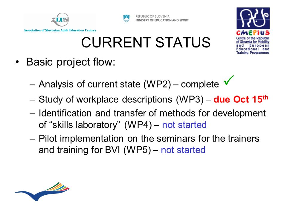 CURRENT STATUS Basic project flow: –Analysis of current state (WP2) – complete  –Study of workplace descriptions (WP3) – due Oct 15 th –Identification and transfer of methods for development of skills laboratory (WP4) – not started –Pilot implementation on the seminars for the trainers and training for BVI (WP5) – not started