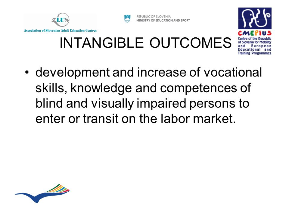 INTANGIBLE OUTCOMES development and increase of vocational skills, knowledge and competences of blind and visually impaired persons to enter or transit on the labor market.
