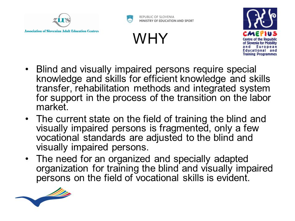 WHY Blind and visually impaired persons require special knowledge and skills for efficient knowledge and skills transfer, rehabilitation methods and integrated system for support in the process of the transition on the labor market.