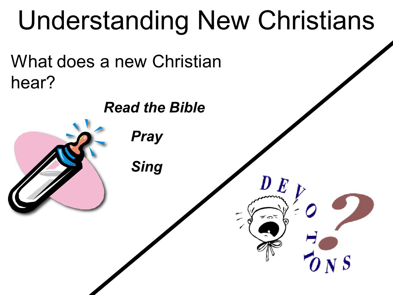 Understanding New Christians Read the Bible Pray Sing What does a new Christian hear?
