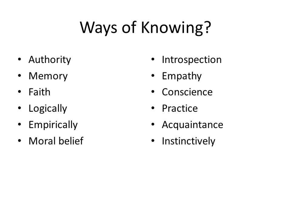 Ways of Knowing? Authority Memory Faith Logically Empirically Moral belief Introspection Empathy Conscience Practice Acquaintance Instinctively