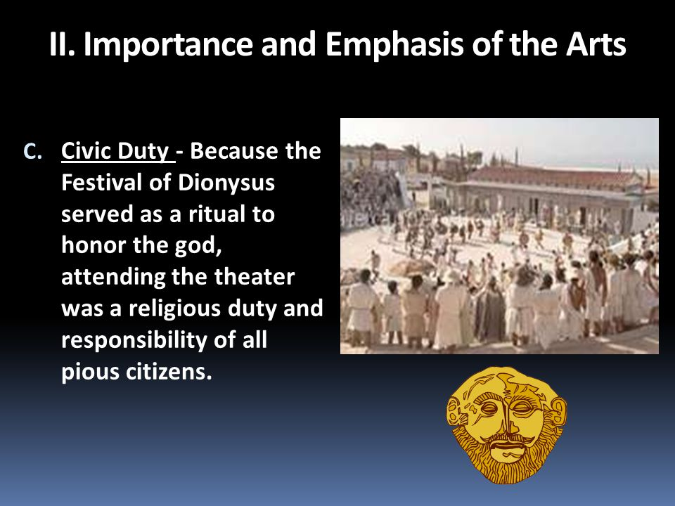 C. Civic Duty - Because the Festival of Dionysus served as a ritual to honor the god, attending the theater was a religious duty and responsibility of