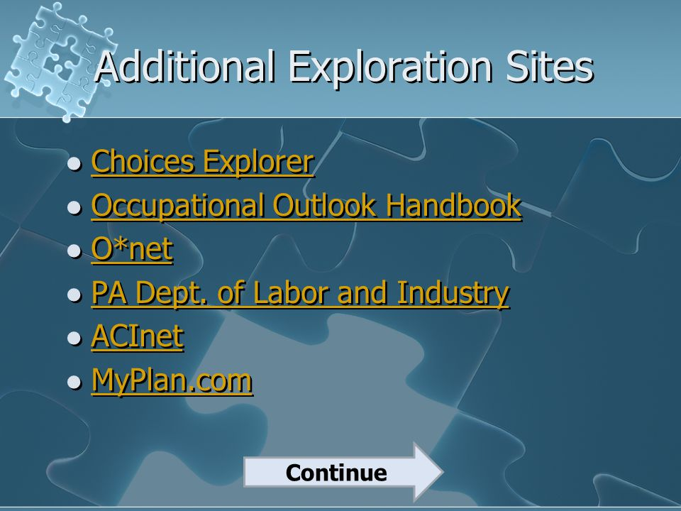 Additional Exploration Sites Choices Explorer Occupational Outlook Handbook O*net PA Dept. of Labor and Industry ACInet MyPlan.com Choices Explorer Oc