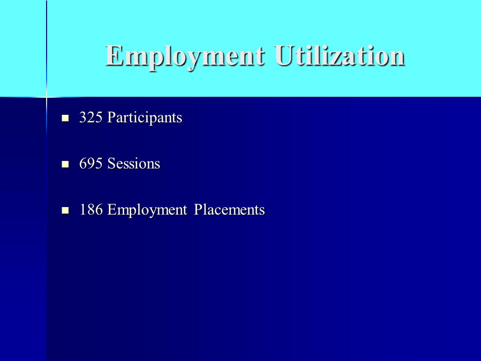 Employment Utilization 325 Participants 325 Participants 695 Sessions 695 Sessions 186 Employment Placements 186 Employment Placements