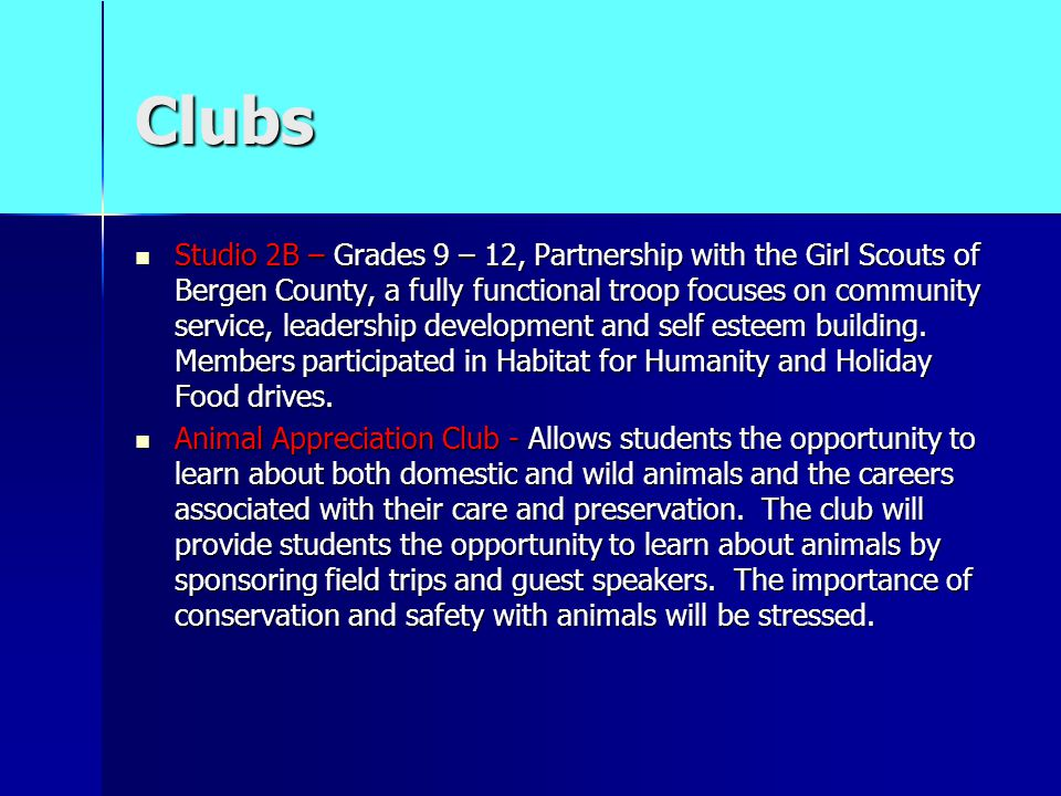 Clubs Studio 2B – Grades 9 – 12, Partnership with the Girl Scouts of Bergen County, a fully functional troop focuses on community service, leadership development and self esteem building.