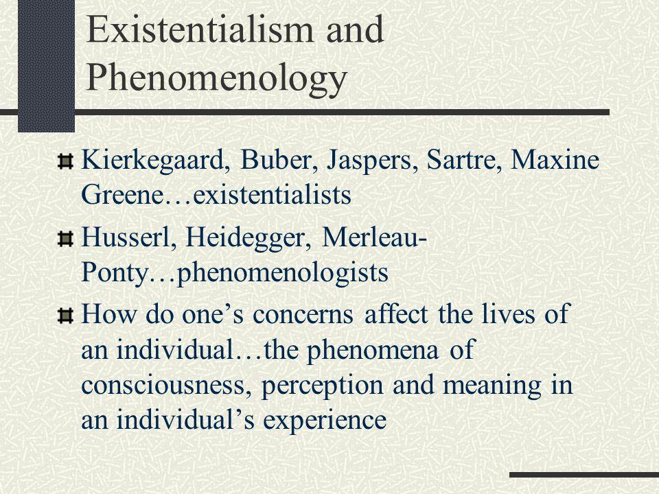 Existentialism and Phenomenology Kierkegaard, Buber, Jaspers, Sartre, Maxine Greene…existentialists Husserl, Heidegger, Merleau- Ponty…phenomenologist