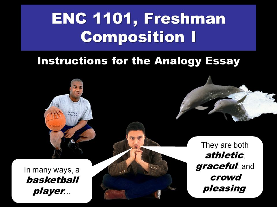 ENC 1101, Freshman Composition I Instructions for the Analogy Essay In many ways, a basketball player … … is just like a dolphin.